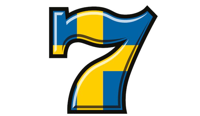 siffran 7 med svensk flagga på